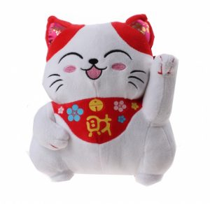 Chinese knuffelkat 23 cm wit